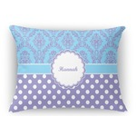 Purple Damask & Dots Rectangular Throw Pillow Case (Personalized)