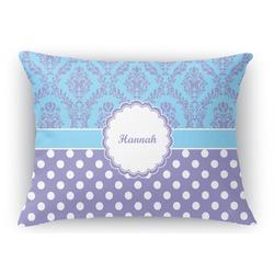 Purple Damask & Dots Rectangular Throw Pillow Case (Personalized)