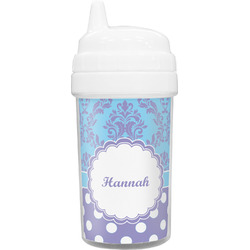 Purple Damask & Dots Toddler Sippy Cup (Personalized)