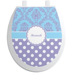 Purple Damask & Dots Toilet Seat Decal (Personalized)