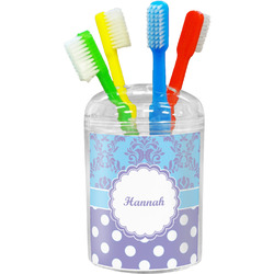 Purple Damask & Dots Toothbrush Holder (Personalized)