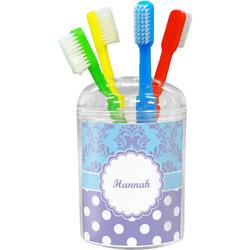 Purple Damask & Dots Toothbrush Holder (Personalized)