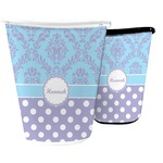 Purple Damask & Dots Waste Basket (Personalized)