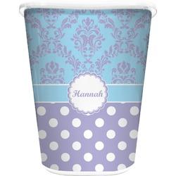 Purple Damask & Dots Waste Basket - Single Sided (White) (Personalized)