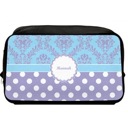 Purple Damask & Dots Toiletry Bag / Dopp Kit (Personalized)