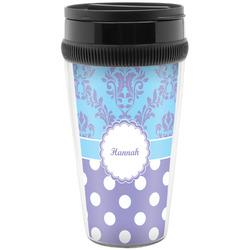 Purple Damask & Dots Travel Mug (Personalized)