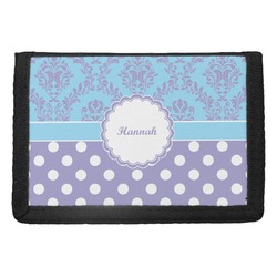 Purple Damask & Dots Trifold Wallet (Personalized)