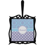 Purple Damask & Dots Trivet with Handle (Personalized)