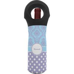 Purple Damask & Dots Wine Tote Bag (Personalized)
