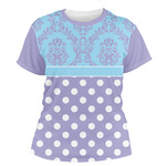 Purple Damask & Dots Women's Crew T-Shirt (Personalized)