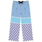 Purple Damask & Dots Womens Pajama Pants (Personalized)