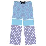Purple Damask & Dots Womens Pajama Pants (Personalized)