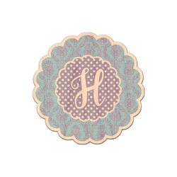 Purple Damask & Dots Genuine Wood Sticker (Personalized)