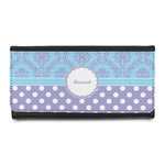 Purple Damask & Dots Leatherette Ladies Wallet (Personalized)