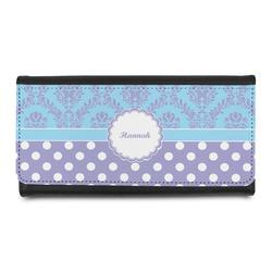 Purple Damask & Dots Leatherette Ladies Wallet (Personalized)
