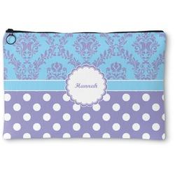 """Purple Damask & Dots Zipper Pouch - Small - 8.5""""x6"""" (Personalized)"""