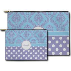 Purple Damask & Dots Zipper Pouch (Personalized)