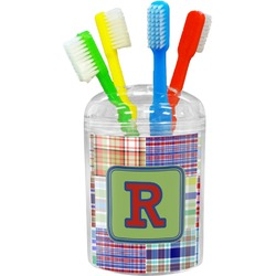 Blue Madras Plaid Print Toothbrush Holder (Personalized)