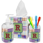 Blue Madras Plaid Print Acrylic Bathroom Accessories Set w/ Initial