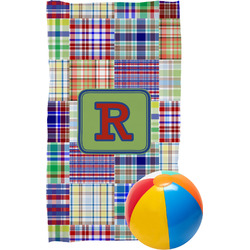 Blue Madras Plaid Print Beach Towel (Personalized)