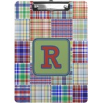 Blue Madras Plaid Print Clipboard (Personalized)