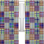 Blue Madras Plaid Print Curtains (2 Panels Per Set) (Personalized)