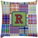 Blue Madras Plaid Print Decorative Pillow Case (Personalized)