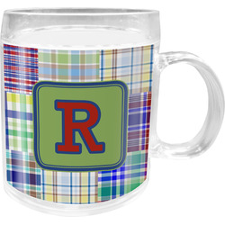 Blue Madras Plaid Print Acrylic Kids Mug (Personalized)