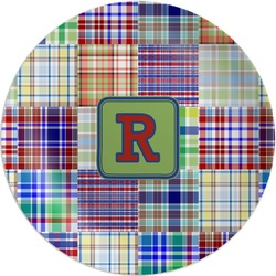 Blue Madras Plaid Print Melamine Plate (Personalized)