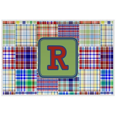 Blue Madras Plaid Print Placemat (Laminated) (Personalized)