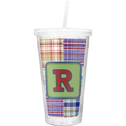 Blue Madras Plaid Print Double Wall Tumbler with Straw (Personalized)