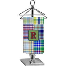 Blue Madras Plaid Print Finger Tip Towel - Full Print (Personalized)