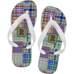 Blue Madras Plaid Print Flip Flops (Personalized)