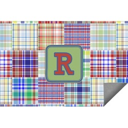 Blue Madras Plaid Print Indoor / Outdoor Rug (Personalized)