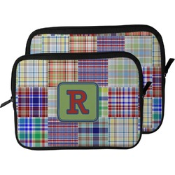 Blue Madras Plaid Print Laptop Sleeve / Case (Personalized)
