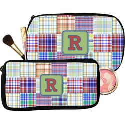 Blue Madras Plaid Print Makeup / Cosmetic Bag (Personalized)