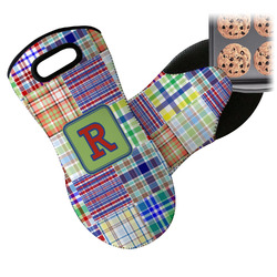 Blue Madras Plaid Print Neoprene Oven Mitt (Personalized)