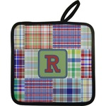 Blue Madras Plaid Print Pot Holder (Personalized)