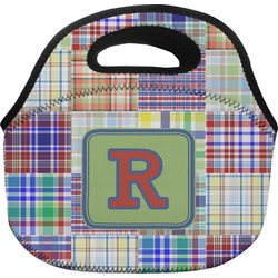 Blue Madras Plaid Print Lunch Bag (Personalized)