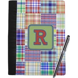 Blue Madras Plaid Print Notebook Padfolio (Personalized)