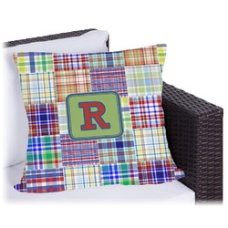 """Blue Madras Plaid Print Outdoor Pillow - 16"""" (Personalized)"""