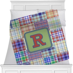 "Blue Madras Plaid Print Fleece Blanket - Twin / Full - 80""x60"" - Double Sided (Personalized)"