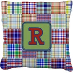 Blue Madras Plaid Print Faux-Linen Throw Pillow (Personalized)