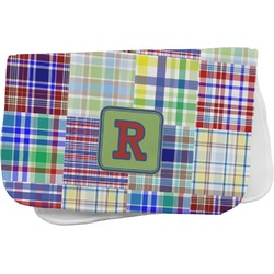 Blue Madras Plaid Print Burp Cloth (Personalized)