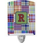 Blue Madras Plaid Print Ceramic Night Light (Personalized)