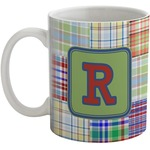 Blue Madras Plaid Print Coffee Mug (Personalized)