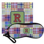 Blue Madras Plaid Print Eyeglass Case & Cloth (Personalized)