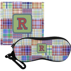 Blue Madras Plaid Print Eyeglass Case & Cloth (Personalized)