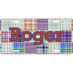 Blue Madras Plaid Print Front License Plate (Personalized)