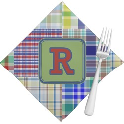 Blue Madras Plaid Print Napkins (Set of 4) (Personalized)